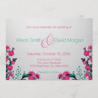 Fuchsia and Turquoise Wedding Invitations