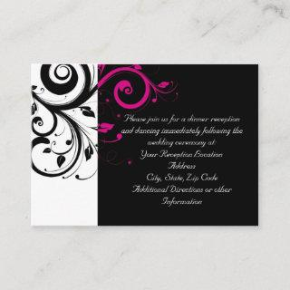 Fuchsia Black Reverse Swirl Reception and Map Card