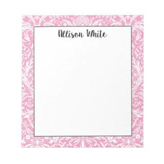 Fuchsia Pink Pineapple Victorian Vintage Damask Notepad