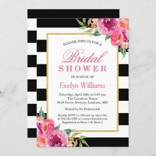 Fuchsia Purple Red Floral Stripes Bridal Shower Invitations