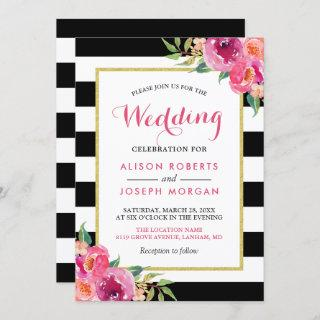 Fuchsia Raspberry Floral Stripes Modern Wedding Invitations