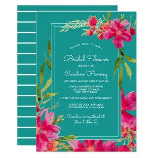 Fuchsia Turquoise Floral Watercolor Bridal Shower Invitation