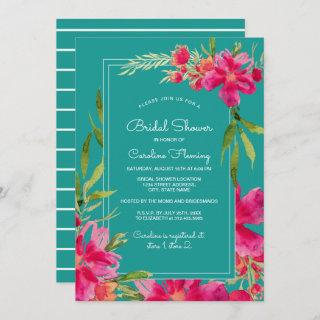 Fuchsia Turquoise Floral Watercolor Bridal Shower Invitations