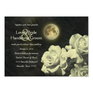 Full Moon Ivory Ghost Roses Wedding Invitations