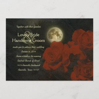 Full Moon Red Ghost Roses Wedding Invitations