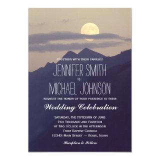 Full Moon Rising Over Mountains Wedding Invites