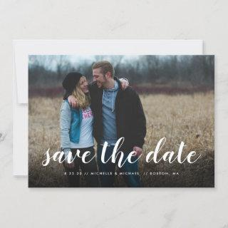 Full Photo Hand Lettering Wedding Save the Date