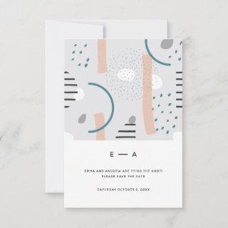 Fun Abstract Memphis Blue Pattern Wedding Save The Date