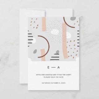 Fun Abstract Memphis Pattern Tan Neutral Wedding Save The Date
