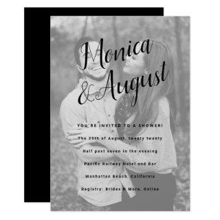 Fun and Casual Names Photo Couples Wedding Shower Invitations