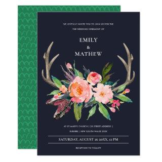 FUN BOHO NAVY BLUSH ANTLER FLORAL COUNTRY WEDDING Invitations