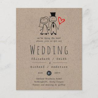 Fun Bride Groom Rustic Wedding Invite Handdrawn