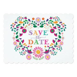 Fun Fiesta Mexican Flower Wreath Save the Date Invitations