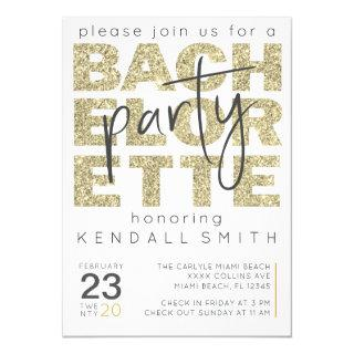 Fun Glamorous Gold Sparkle Bachelorette Invitation