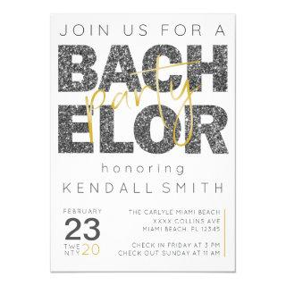 Fun Gold and Black Sparkle Bachelor Party Invitations