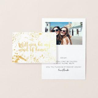 Fun Gold Foil Will You Be My Maid of Honor Photo Foil Card