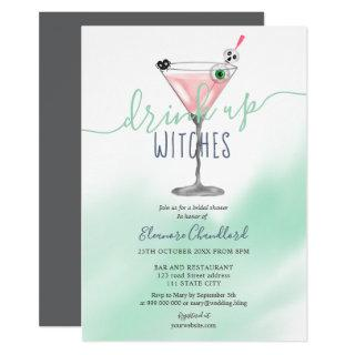 Fun pink cocktail witches Halloween bridal shower Invitations