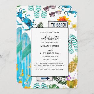 Fun Summer Outdoor BBQ Engagement Party Invitation
