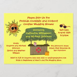Fun Summer Tiki Hut Cookout Couples Bridal Shower Invitations