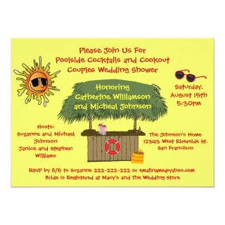 Fun Summer Tiki Hut Cookout Couples Bridal Shower Invitation