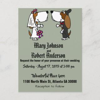 Funny Basset Hound Dog Wedding Invitation
