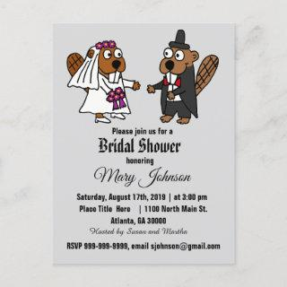 Funny Beaver Wedding Cartoon Invitation Postcard