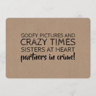Funny Bridesmaid Proposal Partners in Crime Invitation