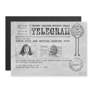 Funny Childhood Photos Save the Date Telegram Magnetic