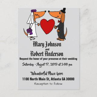 Funny Dachshund Bride and Groom Wedding Invitations