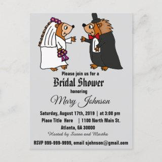 Funny Hedgehog Wedding Cartoon Invitations Postcard