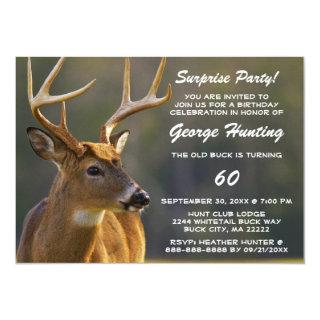 Funny Hunting Buck Surprise Birthday Invitations