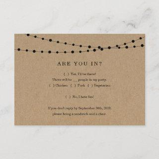 Funny Invitation Reply Card Insert - Rustic Kraft