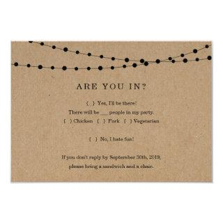 Funny Invitations Reply Card Insert - Rustic Kraft