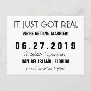 Funny It Just Got Real Wedding Save the Date Announcement Postcard