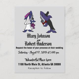 Funny Shark Bride and Groom Wedding Invitation