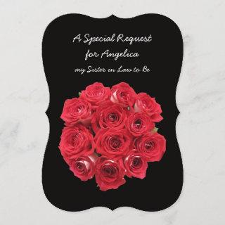 Future Sister in Law Bridesmaid Red Roses Invitations