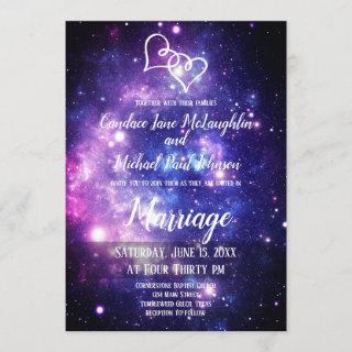 Galaxy Starry Night Space Double Hearts Wedding Invitations