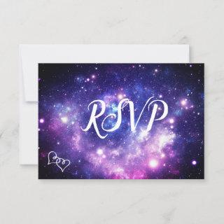 Galaxy Starry Night Wedding RSVP Cards with Meals