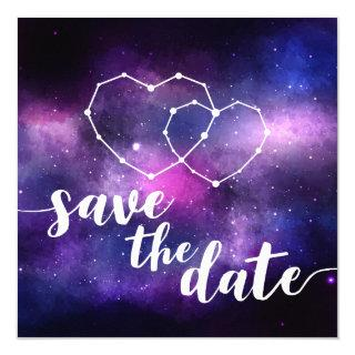 Galaxy Wedding Hearts Constellation Save The Date Invitations