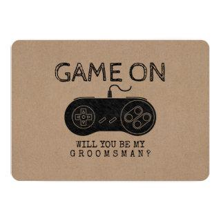 Game On - Funny Gamer Groomsman or Best Man Invitation