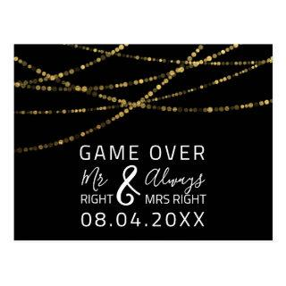 Game Over Funny Save The Date Wedding Gold Postcard