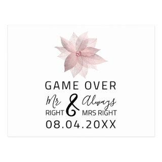 Game Over Funny Save The Date Wedding Rose Postcard