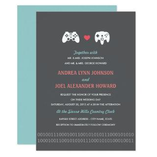 Gamer Controller Love Wedding Invites - Red & Gray