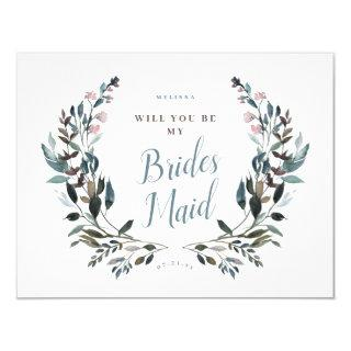 Garden Crest Dusty Blue Floral Bridesmaid Invitations