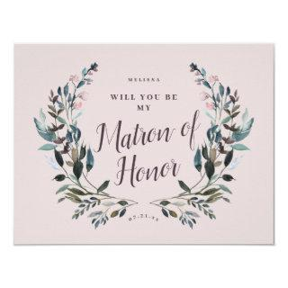 Garden Crest Floral Mauve Purple Matron of Honor Invitation