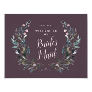 Garden Crest Mauve Purple Floral Bridesmaid Invitations