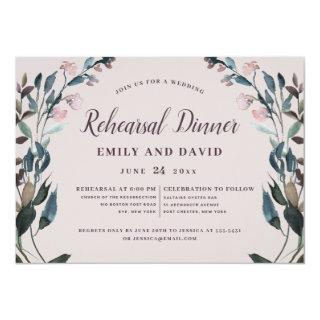 Garden Crest Mauve Purple Floral Wedding Rehearsal Invitation