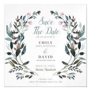 Garden Crest | White Blue Wedding Save The Date Magnetic Invitations