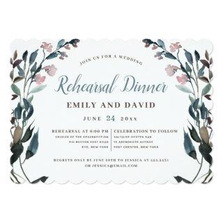 Garden Crest | White Dusty Blue Floral Wedding Invitation