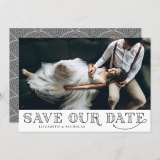 Gatsby Art Deco Typography Black Save the Date